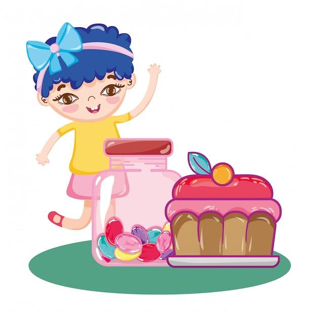 Mädchen mit kuchen und süßen süßigkeiten in der flasche Premium Vektoren
