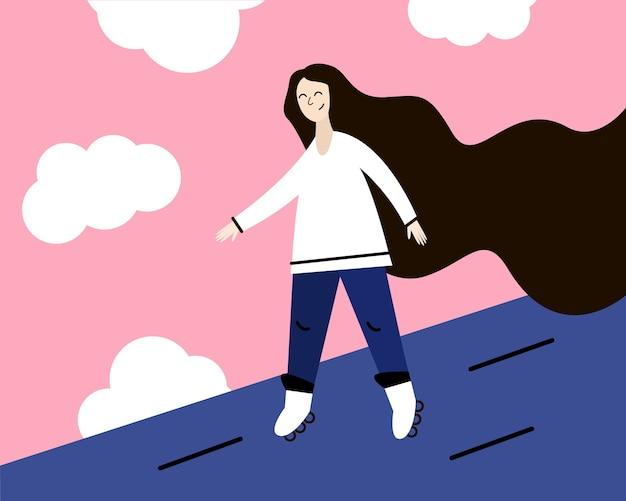 Mädchen mit langen haaren auf rollschuhen. illustration in einem flachen stil. Premium Vektoren