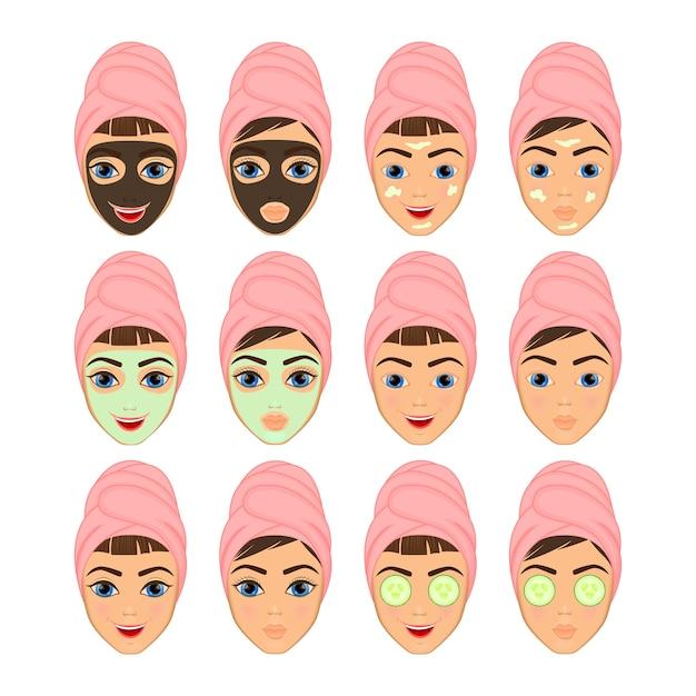 Mädchen mit make-up und nicht mit make-up, die gesichtsmaske kosmetik Premium Vektoren