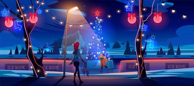 Mädchen mit mutter nachts weihnachts-eisbahn mit geschmücktem tannenbaum und lichtern. karikaturillustration Kostenlosen Vektoren