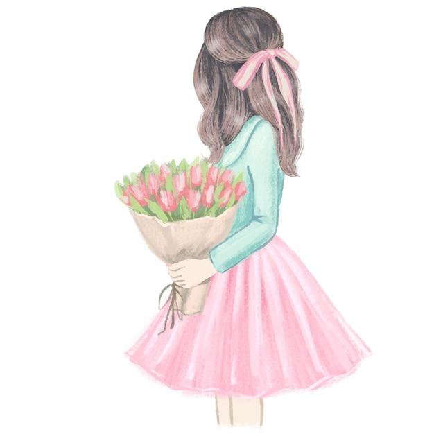 Mädchen mit tulpen. hand gezeichnete modeillustration. Premium Vektoren