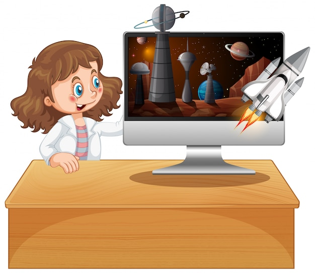 Mädchen neben computer mit raumhintergrund Kostenlosen Vektoren