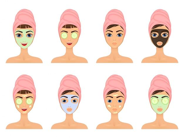 Mädchen pflegt und schützt ihr gesicht mit verschiedenen aktionen, gesichtsbehandlung, behandlung, schönheit, gesund, Premium Vektoren