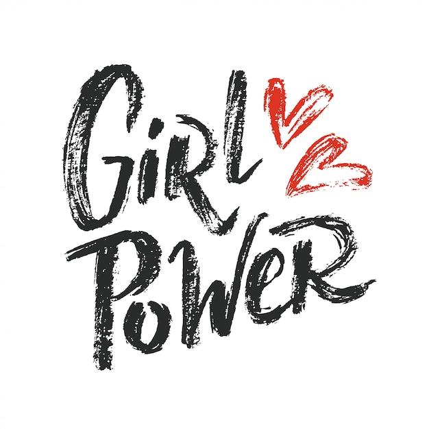 Mädchen power schriftzug Premium Vektoren