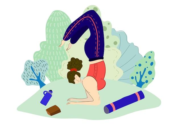 Mädchen praktiziert yoga im park Premium Vektoren