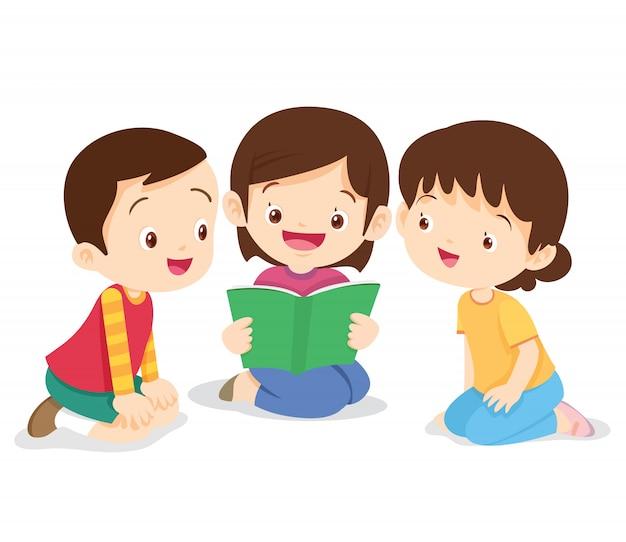 Mädchen sitzen und lesen buch Premium Vektoren