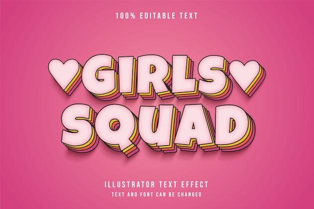Mädchen squad, 3d bearbeitbare texteffekt rosa abstufung comic-ebenen schatten textstil Premium Vektoren