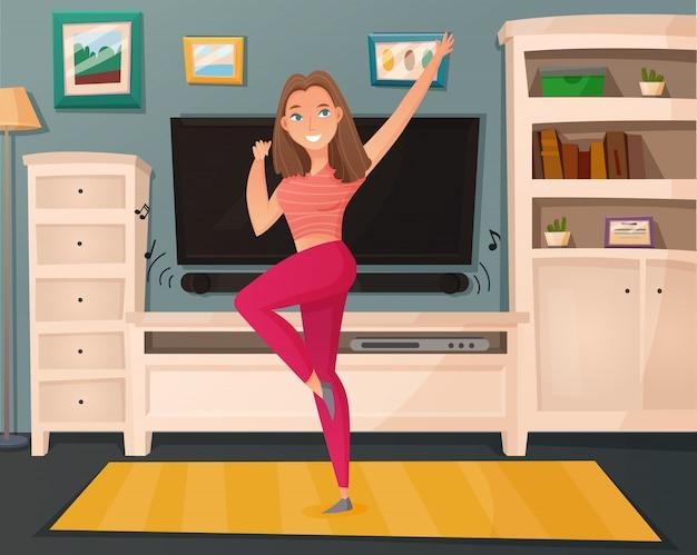 Mädchen tanzen nach hause karikatur Kostenlosen Vektoren