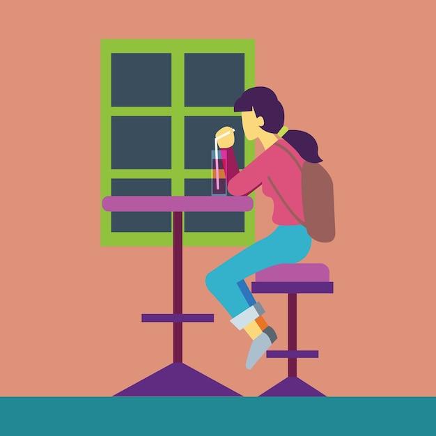 Mädchen trinken im café vektor Premium Vektoren