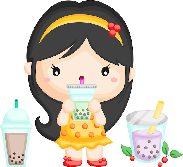 Mädchen und bubble tea Premium Vektoren