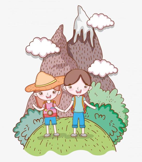 Mädchen und junge im berg mit wanderlustabenteuer Premium Vektoren