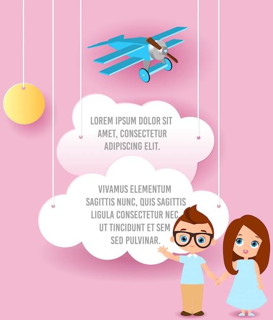 Mädchen und junge mit brille. vector papierkunst des wolken- und flugzeugfliegens im himmel. template-werbung Premium Vektoren