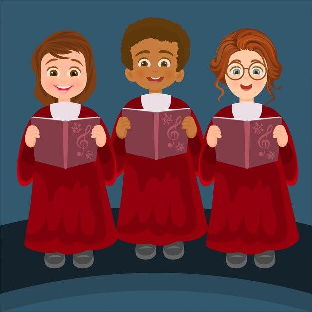 Mädchen und jungen singen Premium Vektoren