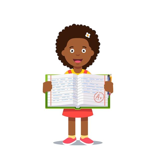 Mädchen und offenes arbeitsbuch mit a-klasse Kostenlosen Vektoren