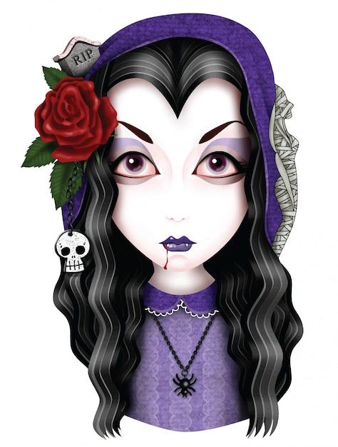 Mädchen-vampir Premium Vektoren