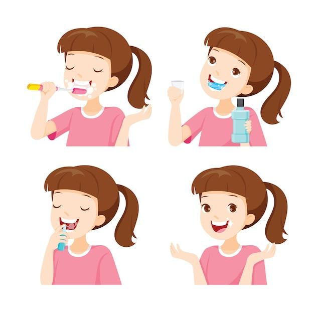 Mädchen zähne putzen, mundgeruch reduzieren und zähne verfallen Premium Vektoren