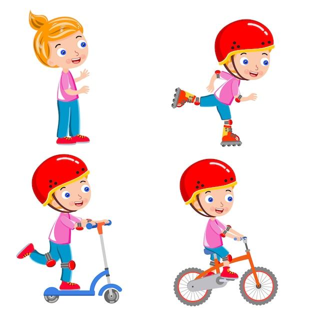 Mädchenaktivität, die eislauffahrvektor läuft Premium Vektoren