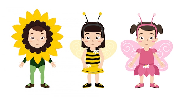 Mädchenfrühlingsbräuche, blumen-, bienen- und schmetterlingskostüm Premium Vektoren