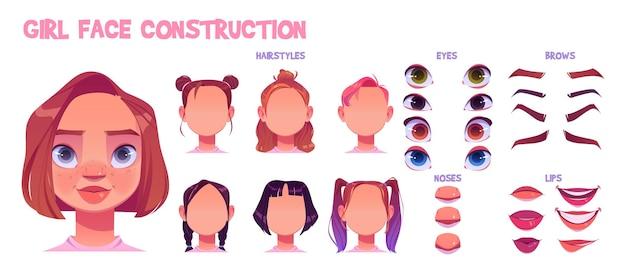 Mädchengesichtskonstruktion, avatar-schöpfung mit verschiedenen kopfteilen auf weiß Kostenlosen Vektoren