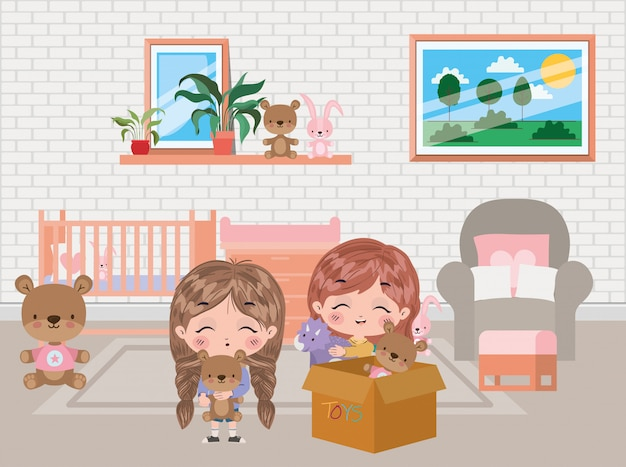 Mädchenkarikaturdesign, lebensstil der kleinen leute der kinderfreundschaftskindheit und personenthema vektorillustration Premium Vektoren