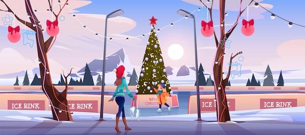 Mädchenmutter auf weihnachtseisbahn mit tannenbaum Kostenlosen Vektoren