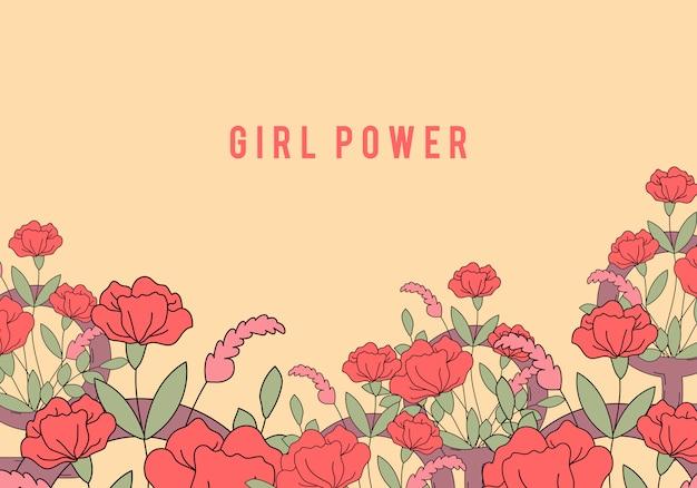 Mädchenpower auf blumenhintergrundvektor Kostenlosen Vektoren