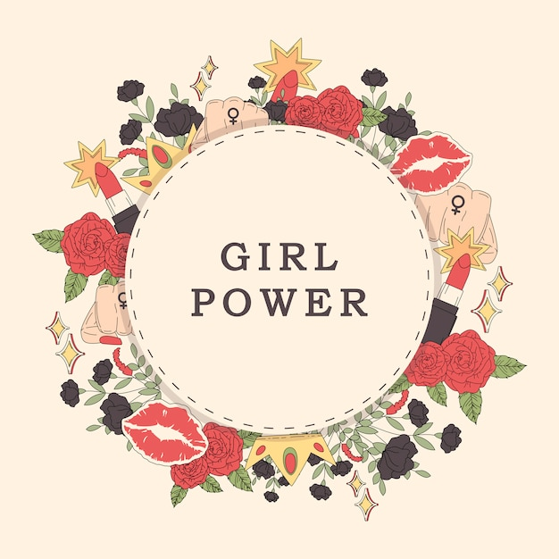 Mädchenpowerblumen-rahmenvektor Kostenlosen Vektoren