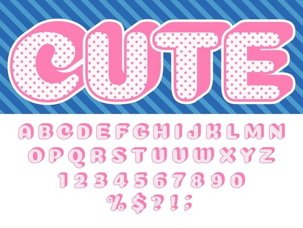 Mädchenpuppenguß, rosa prinzessinüberraschung, lol lustige kinderbuchstaben und retro- punktierter lokalisierter satz des beschaffenheitsalphabet-babys puppen Premium Vektoren