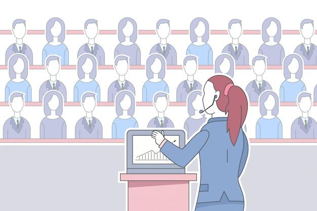 Mädchensprecher im kopfhörer mit laptop gibt dem publikum eine rede Premium Vektoren