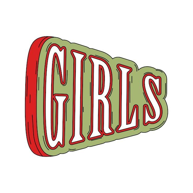 Mädchentypographie auf grünem vektor Kostenlosen Vektoren