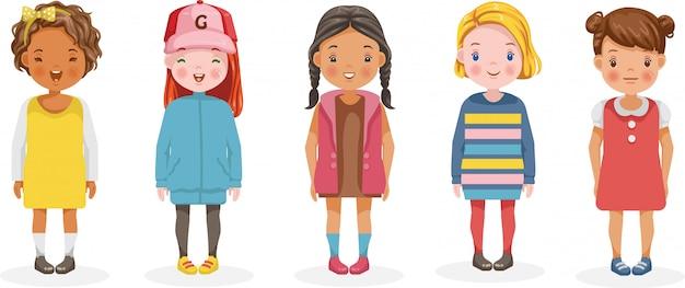 Mädchenvektorsatz von kindern. niedliche karikatur verschiedene und verschiedene ethnien. Premium Vektoren
