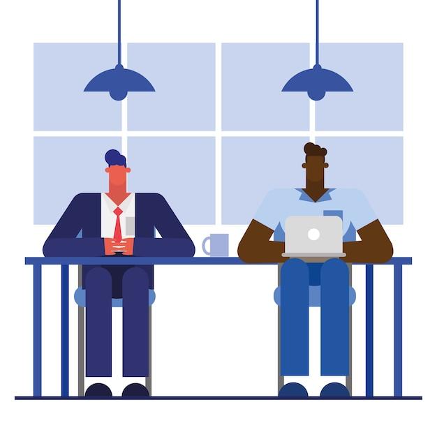 Männer am schreibtisch mit laptop im bürodesign, in der belegschaft der geschäftsobjekte und im unternehmensthema Premium Vektoren