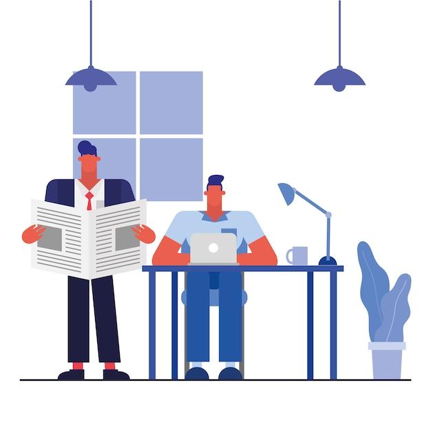 Männer am schreibtisch mit laptop und nachrichten im bürodesign, in der belegschaft der geschäftsobjekte und im unternehmensthema Premium Vektoren