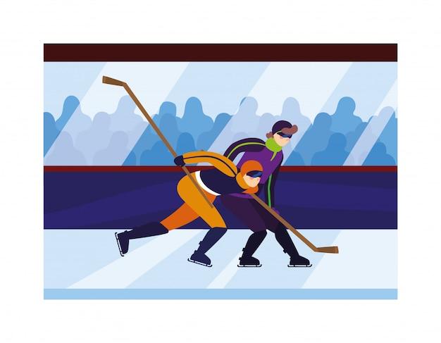 Männer, die hockey spielen, hockeyspieler mit hockeyschläger, eishockey-puck Premium Vektoren
