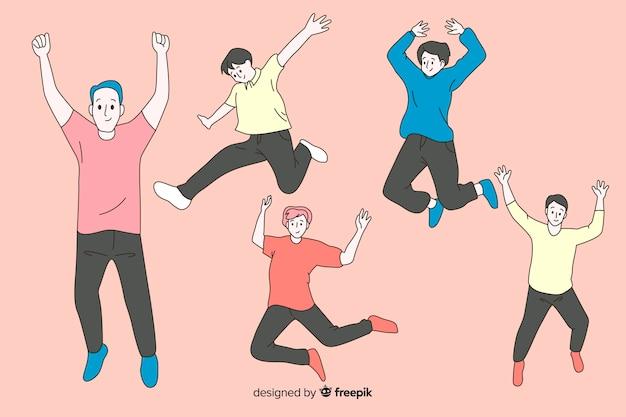 Männer, die in koreanische zeichnungsart springen Kostenlosen Vektoren
