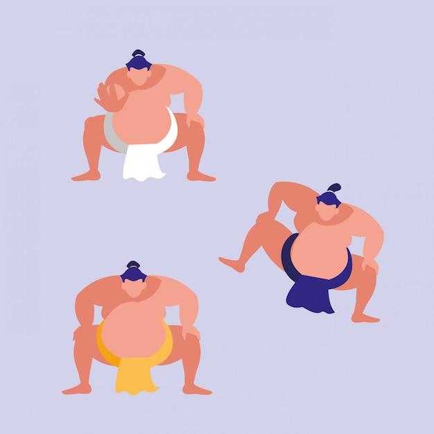 Männer, die sumoavataracharakter üben Premium Vektoren