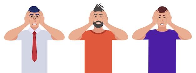 Männer drücken den kopf mit den händen. emotions- und körpersprachenkonzept. stress, anspannung und migräne-konzept. zeichensatz. Premium Vektoren