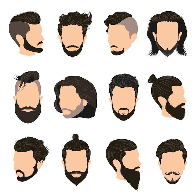 Männer frisur icons set Kostenlosen Vektoren