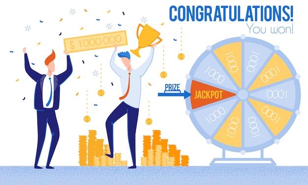 Männer glückwunsch zum gewinn des lotteriepreis-jackpots Premium Vektoren