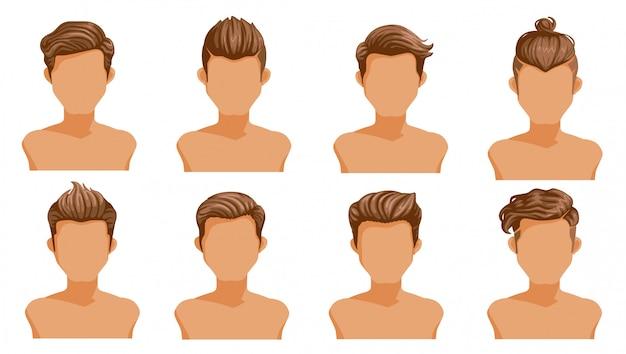 Männer haare. satz mannkarikaturfrisuren. sammlung von modischen stilvollen typen Premium Vektoren