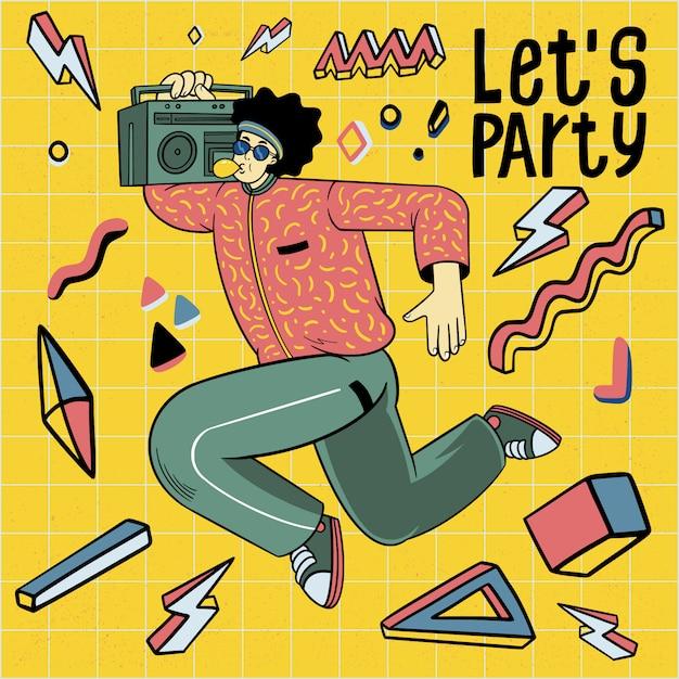 Männer in 80er jahren stil kleidung tanzen retro disco party Premium Vektoren