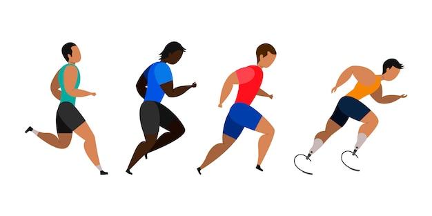 Männer joggen. Premium Vektoren
