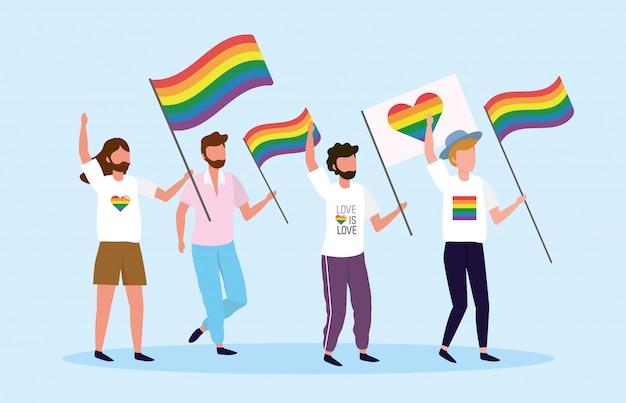 Männer mit regenbogen- und herzflagge zur lgbt freiheit Premium Vektoren