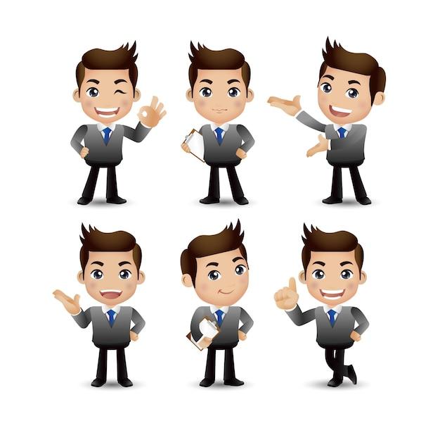 Männer mit unterschiedlichen posen Premium Vektoren