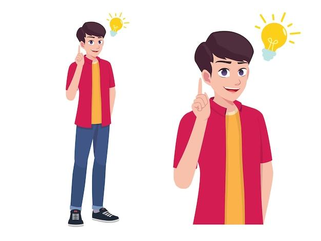 Männer oder jungen denken und bekam idee ausdruck pose cartoon illustration Premium Vektoren