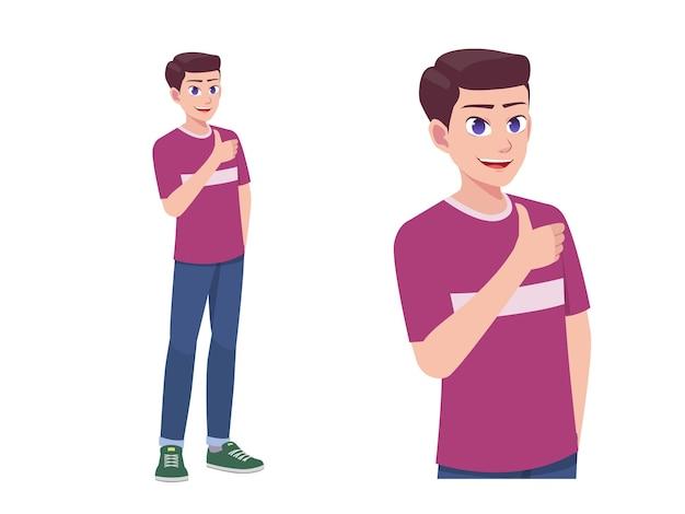 Männer oder jungen mögen und stimmen daumen hoch ausdruck pose cartoon illustration Premium Vektoren