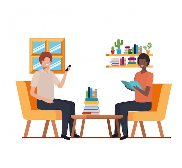 Männer sitzen im arbeitsbüro Premium Vektoren