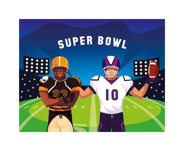 Männer spieler american football mit Premium Vektoren
