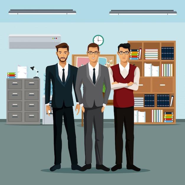 Männer teamwork platz möbel bücher schrank datei uhr Premium Vektoren
