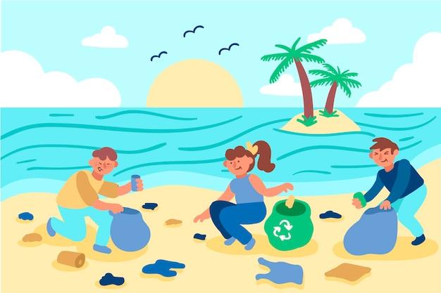 Männer und frau dargestellt, den strand säubernd Kostenlosen Vektoren
